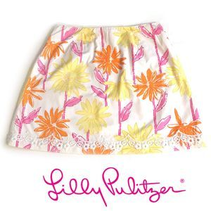 Lilly Pulitzer Glow in the Dark Floral Skirt Sz 10